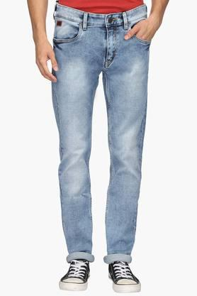 WROGNMens 5 Pocket Skinny Fit Stone Wash Jeans