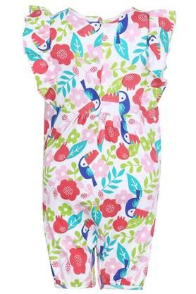 Girls Round Neck Printed Rompers Pack of 2