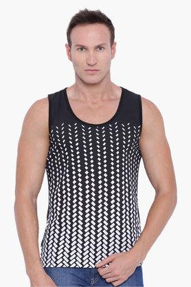 BLUE SAINT Mens Black Printed Round Neck Vest  ... - 202369819