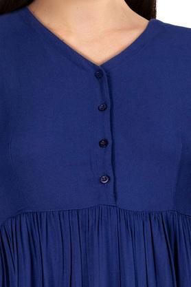 Womens V Neck Solid Flared Dress