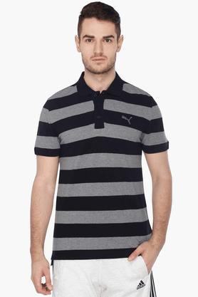 PUMA Mens Short Sleeves Stripe Polo T-Shirt
