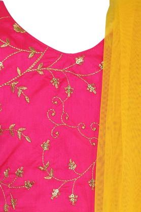 Girls Round Neck Gold Woven Embroidered Ghaghra Choli Dupatta Set