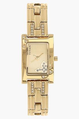 TITANWomens Champagne Dial Brass Strap Watch