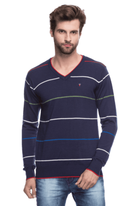 LOUIS PHILIPPE SPORTS Mens Full Sleeves V Neck Slim Fit Stripe Sweater