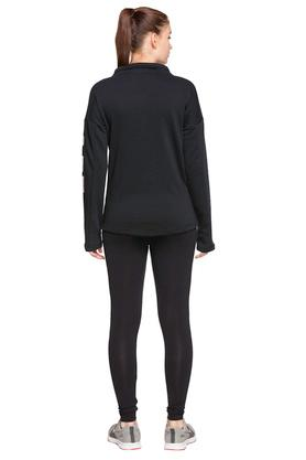 Womens Zip Through Neck Solid Track Suit