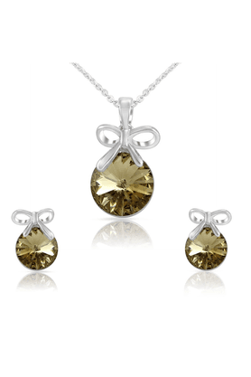 MAHI Mahi Liana Collection Brown Rhodium Plated Made With Swarovski Elements Pendant Set For Women NL1104080R
