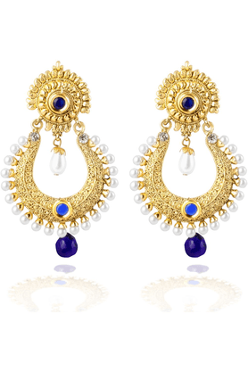 ZAVERI PEARLS Gold Toned Hanging Dangle Earring - ZPFK2525