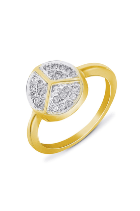 MAHIMahi Gold Plated Peace Round Fingering With CZ For Women FR1100109G