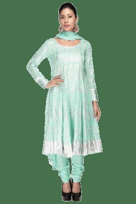 HAUTE CURRYWomen Cotton Anarkali Printed Churidar Suit - 9758627