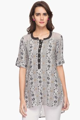STOP Womens Mandarin Neck Printed Dipped Kurta