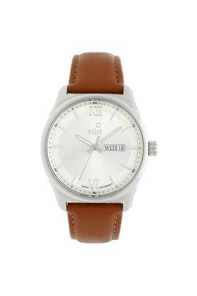 Mens White Dial Leather Analogue Watch - 40023SL01E