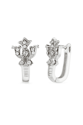 MAHIMahi Rhodium Plated Royal Shine Huggies Hoops Earrings With CZ For Women ER1101629R