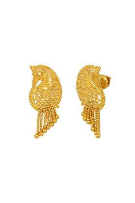 Womens Yellow Gold Peacock Stud Earrings GERD16008629