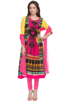 HAUTE CURRY Womens Printed Churidaar Suit
