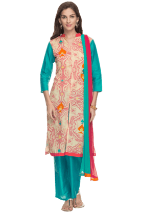 HAUTE CURRY Womens Printed Pant Kurta Dupatta Set
