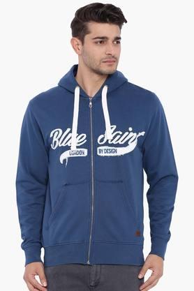 BLUE SAINTMens Blue Zipper Sweatshirt