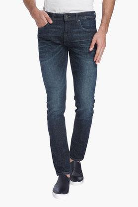 JACK AND JONES Mens 5 Pocket Mild Wash Whiskered Jeans