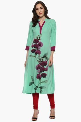 BHAMA COUTUREWomen's Mandarin Neck Poly Crepe Printed Kurta - 202529745