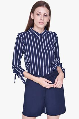 Womens Peter Pan Collar Striped Top