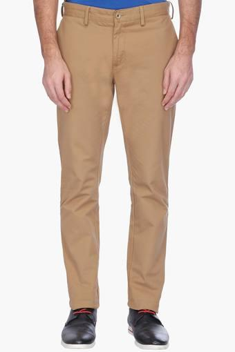 Mens Flat Front Slim Fit Solid Chinos