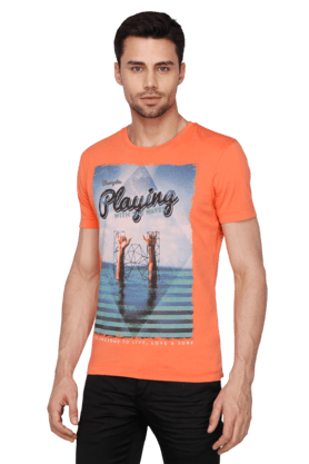 Mens Short Sleeves Round Neck Slim Fit Printed T-Shirt