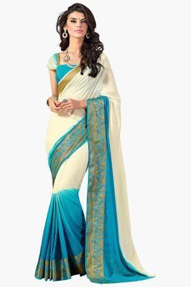 ASHIKAWomens Colour Block Golden Weave Saree - 201773731