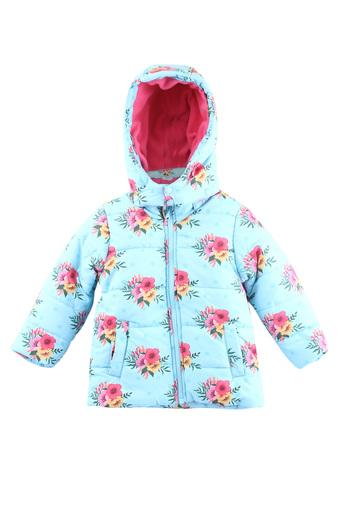 Girls Hooded Neck Floral Printed Quilted jacket