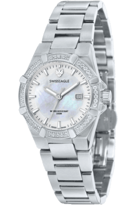 SWISS EAGLE Womens Glide 3 Hand Date Round Dial  Watch SE-6041-1M