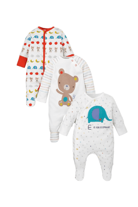 MOTHERCARE Unisex Cotton Printed Sleepsuits - Pack Of 3