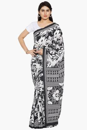 Women Abstract Printed Crepe Saree With Printed Border