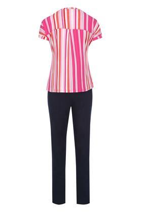 Womens Round Neck Striped Top and Pyjama Set