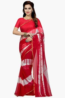 Women Faux Georgette Stripe Printed Saree