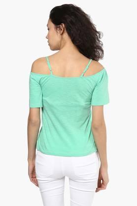 Womens Designer Neck Cold Shoulder Solid Top