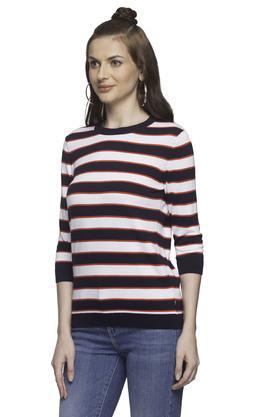 Womens Round Neck Striped Sweatshirt