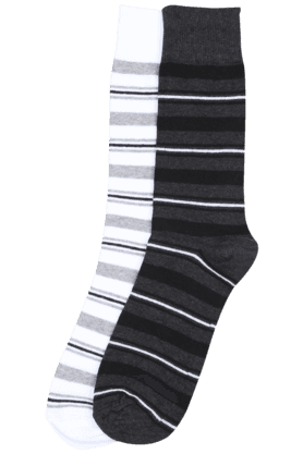 STOP Men Striped Crew-length Socks (Set Of 2)