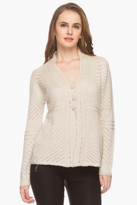 APSLEY Womens V Neck Knitted Solid Cardigan