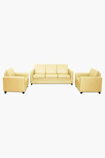 Brunette Ivory Leatherette Sofa (3-1-1 Sofa Set )