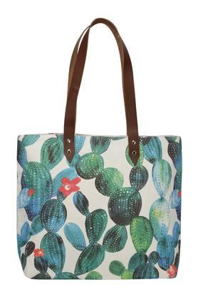 Square Succulent Print Shopping Bag