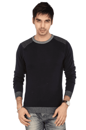 LIFE Men Long Sleeves Slim Fit Round Neck Solid Sweatshirt