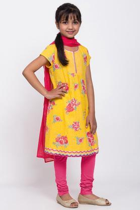 BIBA GIRLS - YellowSalwar Kurta Set - 3