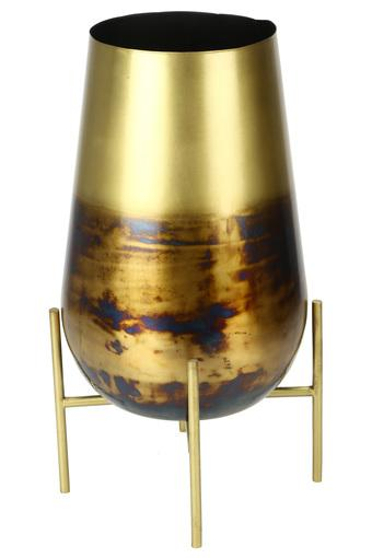 Cylindrical Metal Finish Planter with Stand