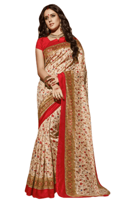 DEMARCA Women Art Silk Saree (Buy Any Demarca Product & Get A Pair Of Matching Earrings Free)
