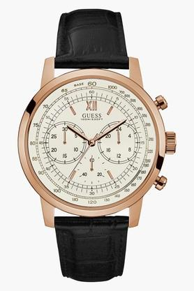 GUESSRose Gold Tone Genuine Leather Protocol Watch W0916G2