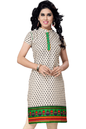 DEMARCA Womens Printed Kurta (Buy Any Demarca Product & Get A Pair Of Matching Earrings Free) - 200936895