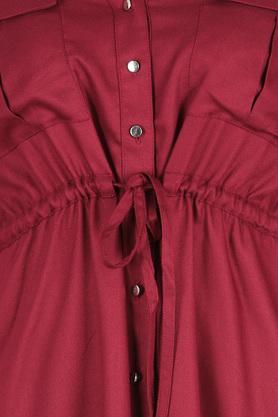 Womens Mandarin Collar Solid Shirt Dress