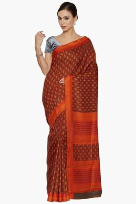 Women Floral Print Art Silk Saree