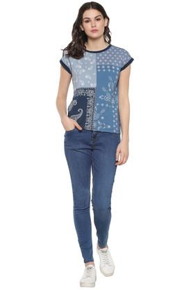 Womens Round Neck Paisley Top