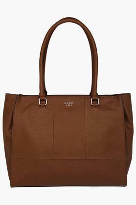 GUESSWomens Leather Zipper Closure Tote Handbag