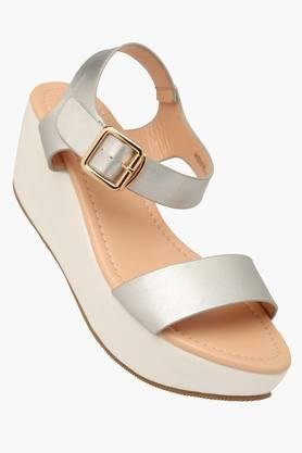 ALLEN SOLLY Womens Casual Ankle Buckle Closure Wedge Sandals