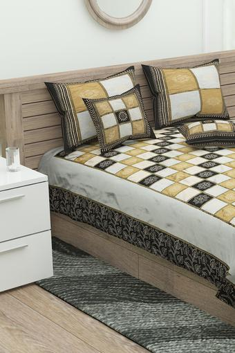 Check Double Bed Cover with Pillow Cover and Cushion Cover